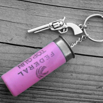 Pink Shotgun Shell & Silver Gun Charm Keychain Western Pistol Keyring Southern Country Girl Hunter Accessory Hunting Outdoors Woman 12 Gauge