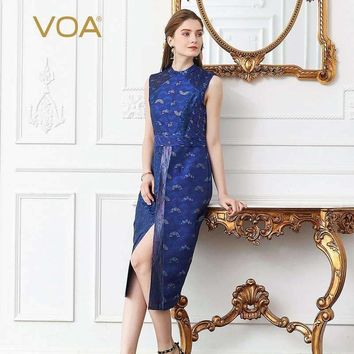 Voa Yarn-Dyed Jacquard Silk Sexy Split Pencil Dress Women Plus Size 5Xl Sleeveless Blue Slim Midi Dress Summer Vintage A306