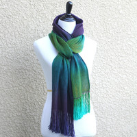 Woven scarf in green and purple colors, peacock scarf