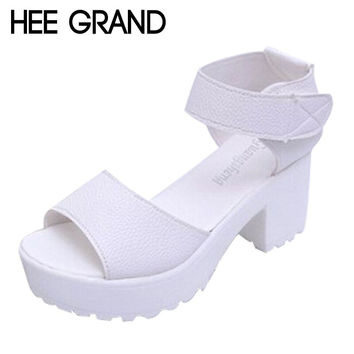 New Summer Pep-toe Woman Sandals,Platform Thick Heel Summer Women Shoes,Velcro Fashion All Match Shoes For Ladies 835