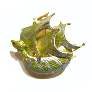Damascene Ship Brooch Green Vintage Pin Nautical Jewelry Rare Left Face Sail