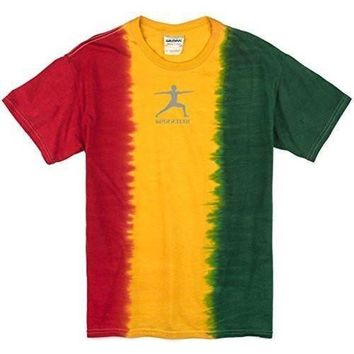 Yoga Clothing for You Mens Warrior Pose Rasta Tie Dye T-Shirt