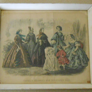 Antique Fashion Print Godey's 1861 Paris Apartment Style / Shabby Chic White and Green Frame