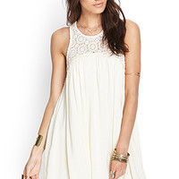 FOREVER 21 Crochet Babydoll Dress Cream