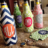bottle koozie - customizable colors and monogram with zippered back for longnecks