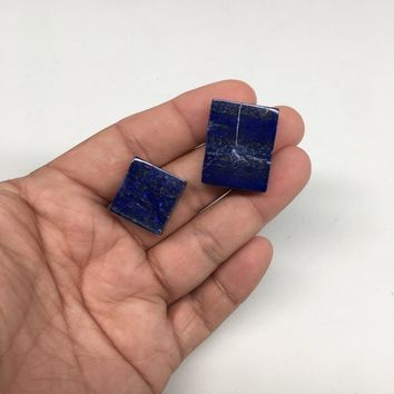 2pcs, 1 side polish,1 side rough Natural Lapis Lazuli Bead/Cab @Afghanistan