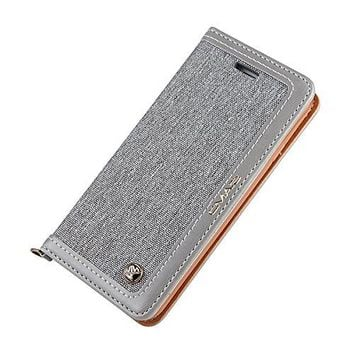 iPhone 6S Plus Case iphone 6 Plus Leather Case canvas Wallet Slim Fit Folio Book Cover Flip Wallet Case With [Business Card Holder] for iPhone 6s Plus / 6 Plus (6plus/6splus 5.5inch, Grey1)