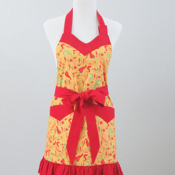 Women's Apron, Chili Peppers Print, Yellow, Red and Green, Adjustable Sweetheart Neckline, Ruffled Bottom, Fully Lined, 100% Premium Cotton