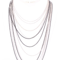 Black Silver Two Toned Layered Design Thin Chain Link Necklace