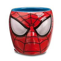 disney store ceramic marvel spider-man sculptured coffee mug new with box
