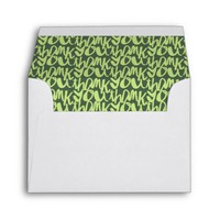 Army Green hand lettered Thank You Patterned Envelope