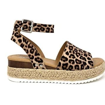 Soda Topic Oatmeal Cheetah Espadrille Platform Sandals
