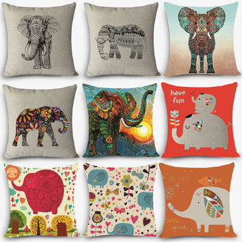 "Elephant Print Home Decorative Cushion Throw Pillow 18"" Vintage Cotton Linen Square Pillows"