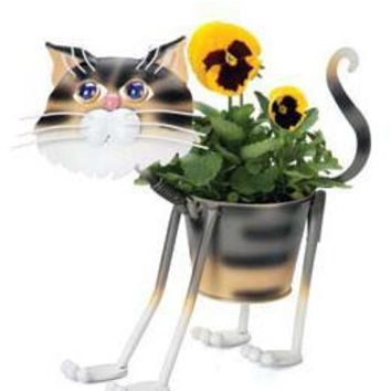 "Georgetown Mini Metal 4"" Planter-Stray Tiger Cat"