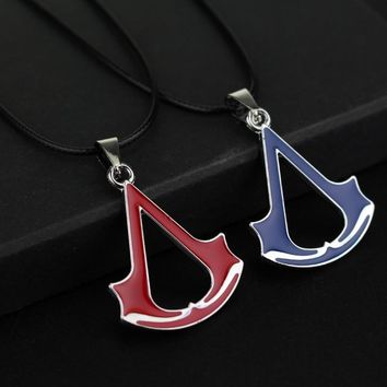 rongji jewelry Movie Assassins Creed Torque Necklace Pendant blue and red rope chain Jewelry Factory outlet for Mother's Day