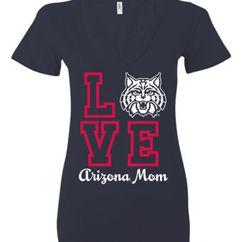 Official NCAA Venley University of Arizona Wildcats U of A Wilber Wildcat BEAR DOWN! Mom Love Ladies Deep V-Neck - UOFA2400
