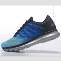 """NIKE"" Trending Fashion Casual Sports Shoes AirMax Toe Cap hook section knited Black blue silver hook silver soles"