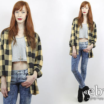 Vintage 90s Beige Lumberjack Plaid Shirt 90s Grunge Shirt 90s Plaid Shirt Oversized Plaid Shirt Oversized Flannel Shirt 90s Flannel Shirt