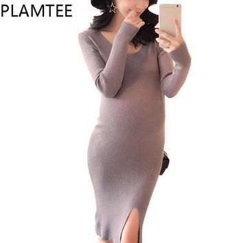 Sheath Knee-Length Maternity Dresses Solid Color Split Dress For Pregnant Women Knitted Long Sleeves Dresses