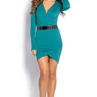 Giada Teal Green Bodycon Long Sleeve Wrap Dress