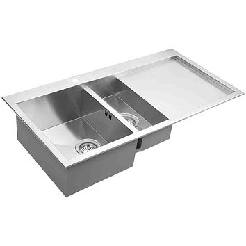 DAX-AT100DP / DAX HANDMADE DOUBLE BOWL TOP MOUNT KITCHEN SINK WITH DRAINING BOARD, 18 GAUGE STAINLESS STEEL, BRUSHED FINISH