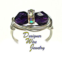 DWJ0398 Tanzanite Czech Art Glass Faceted Duet Silver Plated Wire Wrap Ring All Sizes