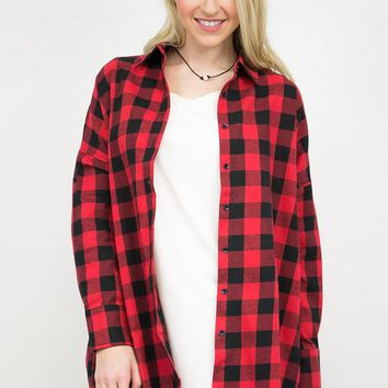 Gingham Flannel High- Low Tunic | Red