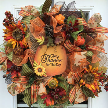 Deluxe Fall mesh wreath, Fall deco mesh wreath,Autumn deco mesh wreath, pumpkin wreath. Fall Front door wreath Fall mesh wreath