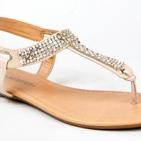 Bamboo BRYSON-02 / City Classified LYNET / Breckelle's NIKKI-31 Metallic Mesh T-Strap Thong Flat Slingback Sandal