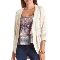 POINTELLE KNIT DOLMAN COCOON CARDIGAN SWEATER