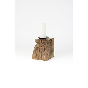 Repurposed Antique Wooden Column Candle Holders - Set Of 2