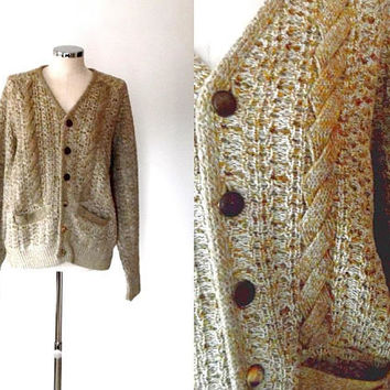 Vintage oatmeal knitted cardigan / gold flecked / cable knit /  v neck / button up / vintage / pockets / warm chunky knit cardigan