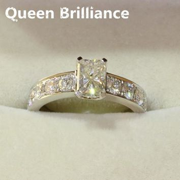 14KT White Gold 2.2 Carat  Radiant Cut Lab Diamond