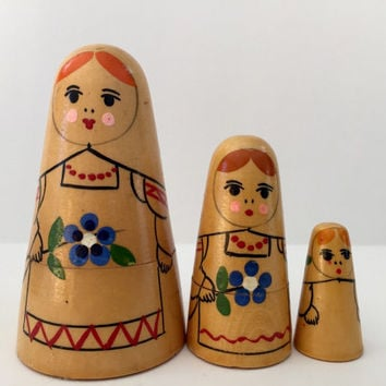 Rare 1960's Conical Maidens Nesting Doll
