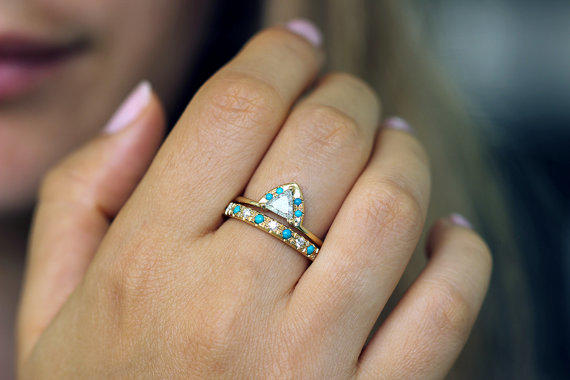 best in turquoise gold to engagement ring set with diamond diamonds rings traditional a bezel alternative