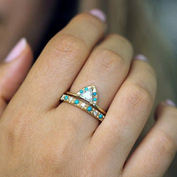 Diamond & Turquoise Engagement Ring - 0.5 Carat Trillion Diamond - 18k Solid Gold