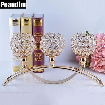 PEANDIM Gold Votive Crystal Candle Holder Arch Bridge Shape 3 Arms Candelabra for Wedding Decoration Dining Table Centerpieces