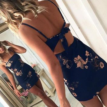 Sexy Sling Print Backless Dress