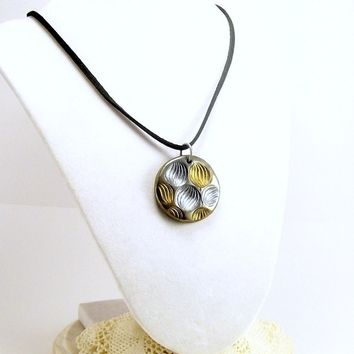 Gold and Silver Shell Pendant Necklace, Fun Jewelry, Art Necklace, Artisan Made, Affordable Handmade Polymer Clay Jewelry