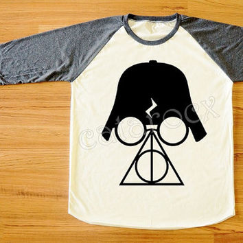 Deathly Hallows T-Shirt Darth Vader Shirt Star Wars Shirt Harry Potter Shirt Long Sleeve Shirt Women Shirt Unisex Shirt Baseball Shirt S,M,L