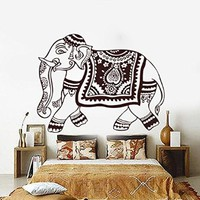 Elephant Wall Decals Indian Pattern Yoga Decal Vinyl Sticker Home Decor Interior Design Bohemian Murals Bedroom Art MN921