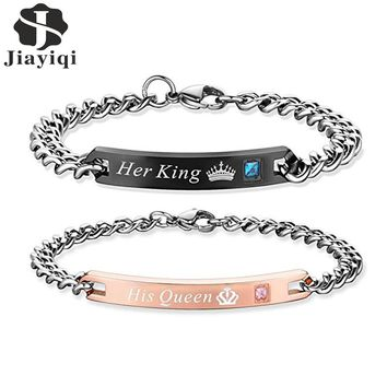Jiayiqi His Queen Her King Couple Bracelets with Crystal Stainless Steel Pair Bracelets Heart Crown Charm For Women Men Jewelry