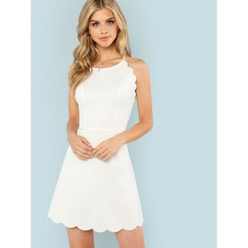 Fit & Flare Scalloped Trim Cami Dress White