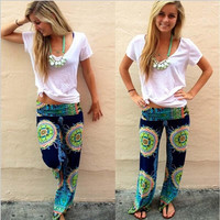 2015 New Casual High Waist Flares Long Pants Palazzo Trousers = 1876631300