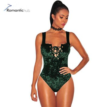 2017 Brand Bodysuit Women Sexy Jumpsuit Romper One Piece Green Velvet Sleeveless Deep V Neck Lace Up Bodycon Wrap Sexy Bodysuits