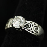 Sterling Silver Ring with 8mm Clear Faceted Crystal Vintage