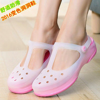Summer Candy color print hole slipper clogs women sandals women's beach home jelly sandals sweet shoes casual flats for ladies
