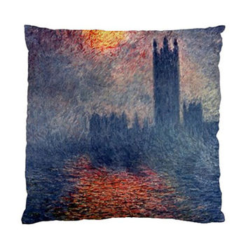 """Claude Monet Parliament In London Throw Pillow Cushion Case Slip Cover Polyester Fabric 17"""" or 20"""" Square Custom Design Made to Order"""