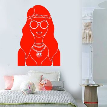 Vinyl Wall Decal Hippie Girl Peace Symbol Love Sunglasses Stickers Unique Gift (1457ig)