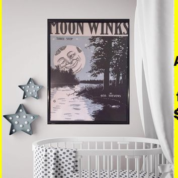 Cute Nursery Poster on sale Retro Antique Vintage Moon print poster Cute Baby room print blue Moon for nursery print cute Nursery Gift print